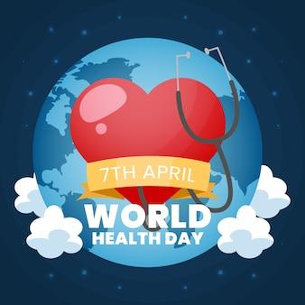 Dia mundial da saúde com coração e estetoscópio