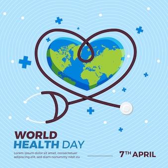 Dia mundial da saúde com estetoscópio e terra em forma de coração