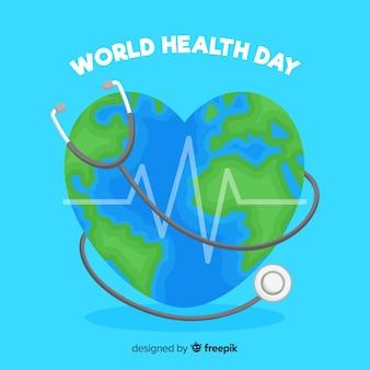Dia mundial da saúde com ilustração em forma de coração do mundo