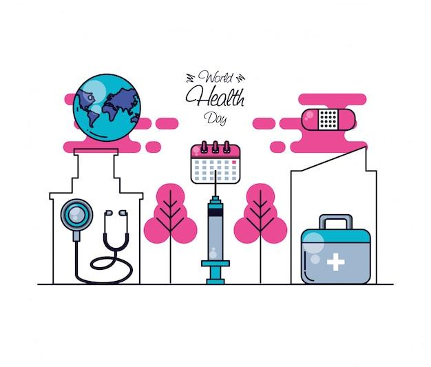 Dia mundial da saúde com kit de primeiros socorros e conjunto de ícones