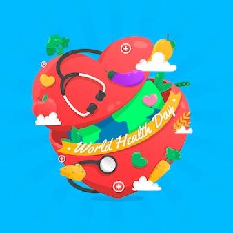 Dia mundial da saúde com o planeta dentro do coração