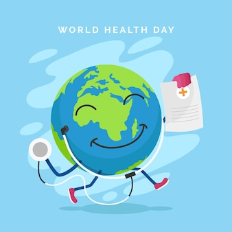 Dia mundial da saúde com o planeta terra e o estetoscópio