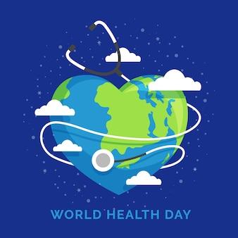 Dia mundial da saúde com o planeta terra em forma de coração