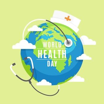 Dia mundial da saúde com o planeta terra, vestindo um boné de enfermeira