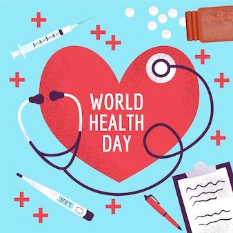 Dia mundial da saúde com pílulas e estetoscópio