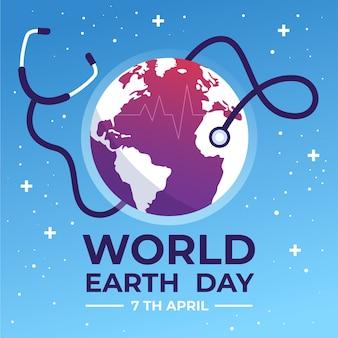 Dia mundial da saúde com planeta e estetoscópio