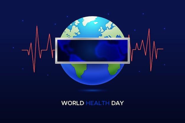 Dia mundial da saúde com planeta e ondas sonoras