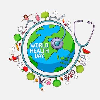 Dia mundial da saúde com planeta e pessoas