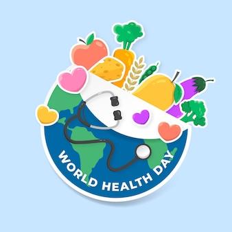 Dia mundial da saúde com planeta e vegetais