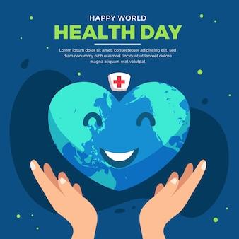 Dia mundial da saúde com terra sorridente em forma de coração