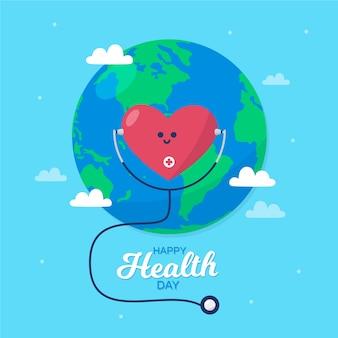 Dia mundial da saúde coração ouvindo um estetoscópio
