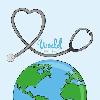 Dia mundial da saúde de fundo de mão desenhada