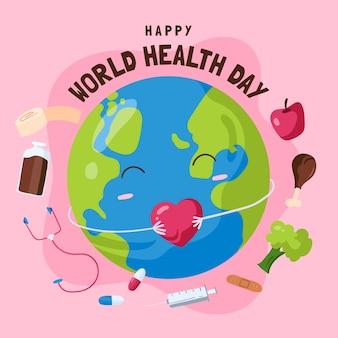 Dia mundial da saúde de fundo mão desenhada