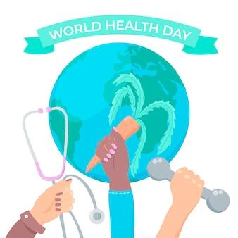 Dia mundial da saúde de mão desenhada