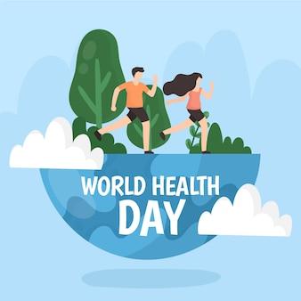 Dia mundial da saúde desenhado à mão