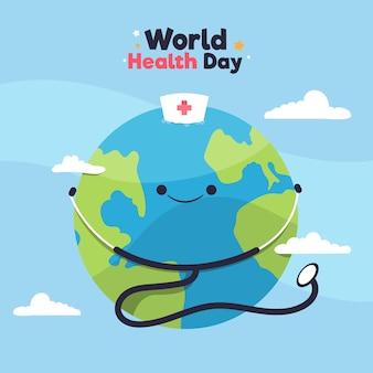 Dia mundial da saúde design plano com planeta e estetoscópio