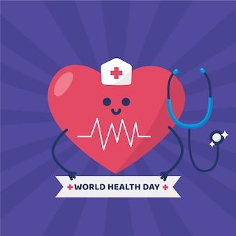 Dia mundial da saúde e coração vestido de enfermeira