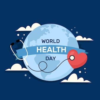Dia mundial da saúde em design plano