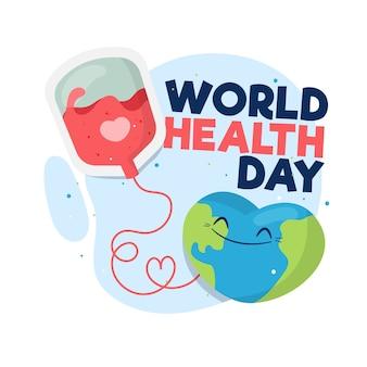 Dia mundial da saúde estilo plano com transfusão de sangue