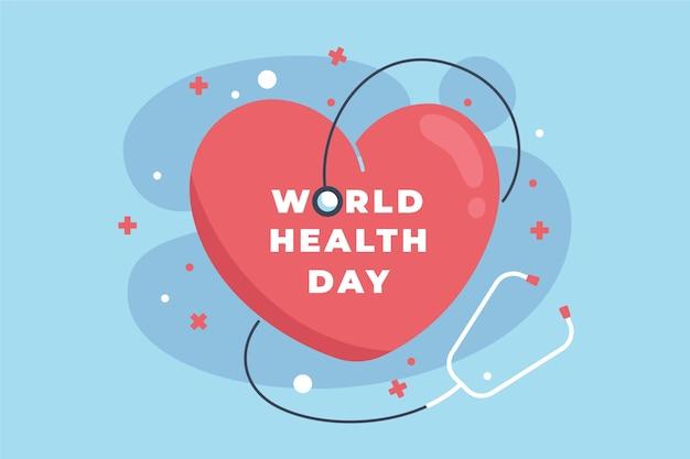 Dia mundial da saúde fundo design plano