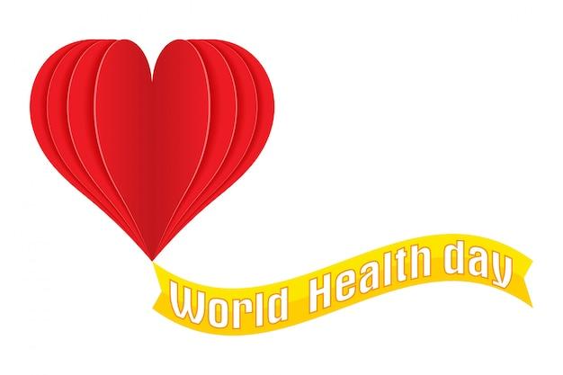 Dia mundial da saúde logotipo texto banner ilustração vetorial