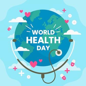 Dia mundial da saúde mão desenhada terra com estetoscópio