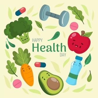 Dia mundial da saúde mão desenhada