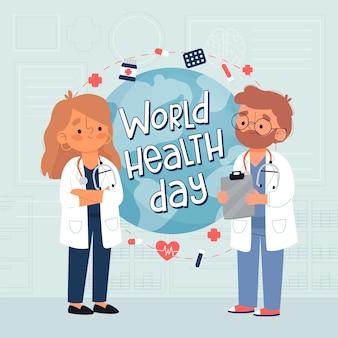 Dia mundial da saúde mão desenhado fundo