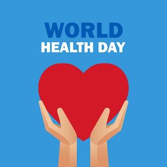 Dia mundial da saúde. mãos segurando um coração sobre um fundo azul. cuidados de saúde. ilustração vetorial. eps 10