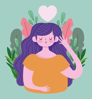 Dia mundial da saúde mental, cartoon jovem folhagem natureza