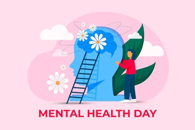 Dia mundial da saúde mental com ilustração plana