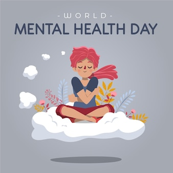 Dia mundial da saúde mental desenhado à mão