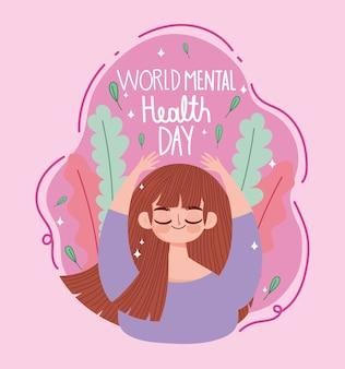 Dia mundial da saúde mental, expressão de meditação de mulher jovem