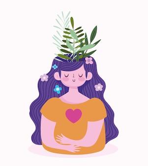 Dia mundial da saúde mental, garota com folhas de folhagem dentro do cérebro