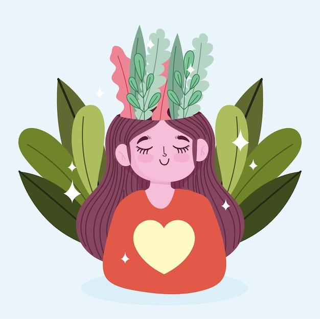Dia mundial da saúde mental, garota feliz com a natureza da folhagem na cabeça