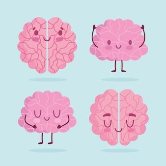 Dia mundial da saúde mental, ícones de expressão de órgãos humanos de cérebros de desenhos animados