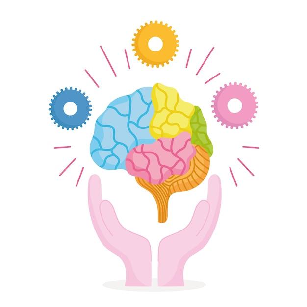 Dia mundial da saúde mental, mãos com cérebro humano e engrenagens
