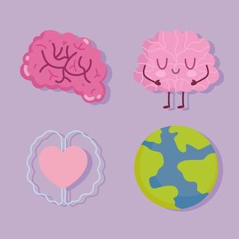 Dia mundial da saúde mental, planeta de personagens do cérebro humano e ícones do coração
