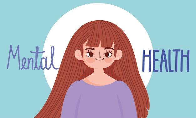Dia mundial da saúde mental, retrato de menina de desenho animado, cartão de letras