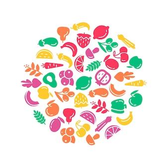 Dia mundial da saúde orgânico. frutas e legumes, fundo, ilustração