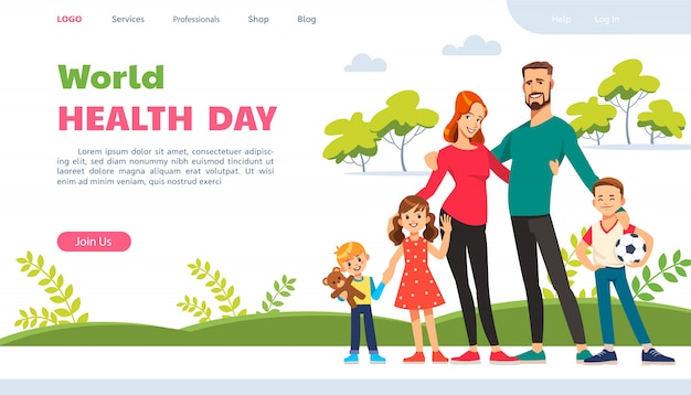 Dia mundial da saúde. página do site com família feliz. estilo de vida ativo, nutrição saudável e esportes. Vetor Premium