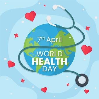 Dia mundial da saúde papel de parede design plano