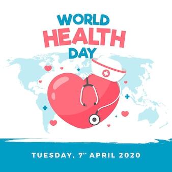 Dia mundial da saúde papel de parede em design plano