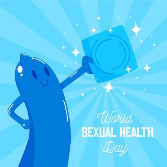 Dia mundial da saúde sexual com preservativo