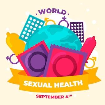 Dia mundial da saúde sexual fundo com preservativos