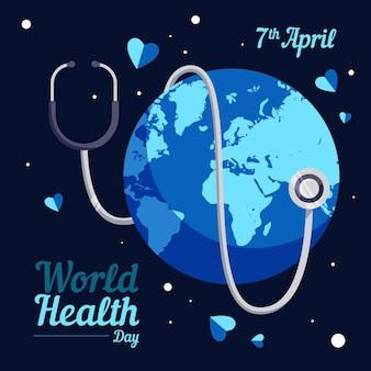 Dia mundial da saúde terra com estetoscópio no meio da noite