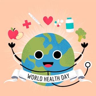 Dia mundial da saúde tratamento médico e estetoscópio