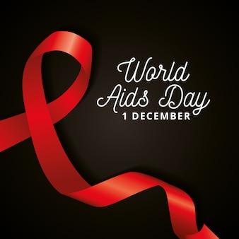 Dia mundial da sida com fita de consciência sobre fundo preto.