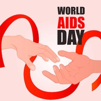 Dia mundial da sida. de mãos dadas com fita vermelha.