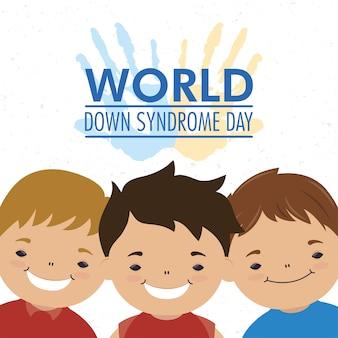 Dia mundial da síndrome de down com as mãos estampadas com tinta e meninos
